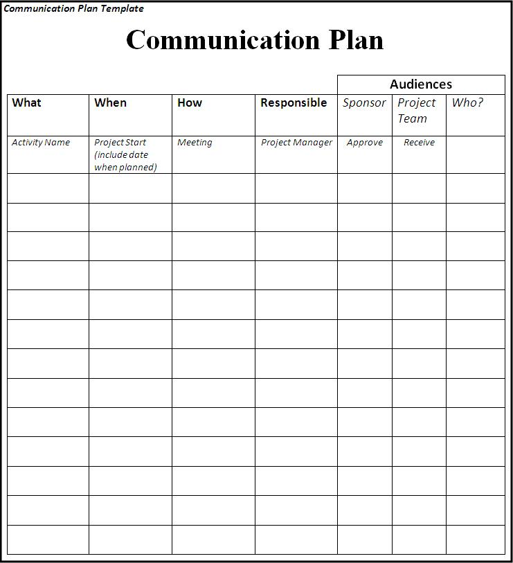 Communication Plan: Communication Plan Matrix Sample