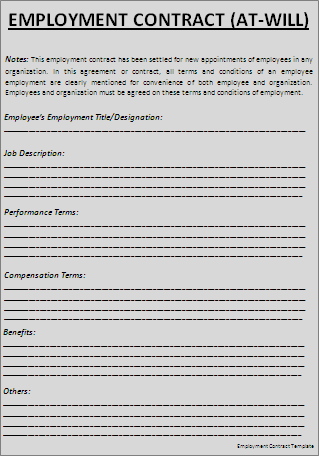 Employment Contract Template Word Templates  Free Employment Contract Form