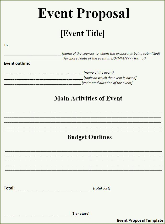 Event Proposal Template | Word Templates