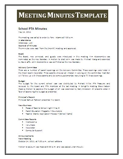Meeting minutes template professional word templates for Taking minutes in a meeting template