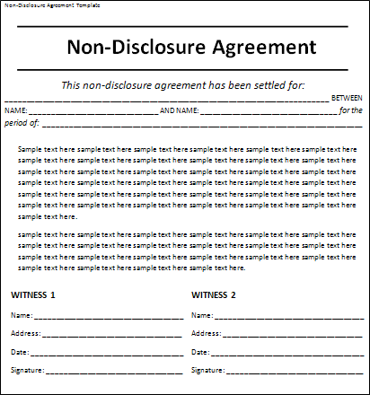 Free nda agreement template video search engine at for Free non disclosure agreement template