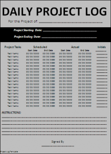 Project log template