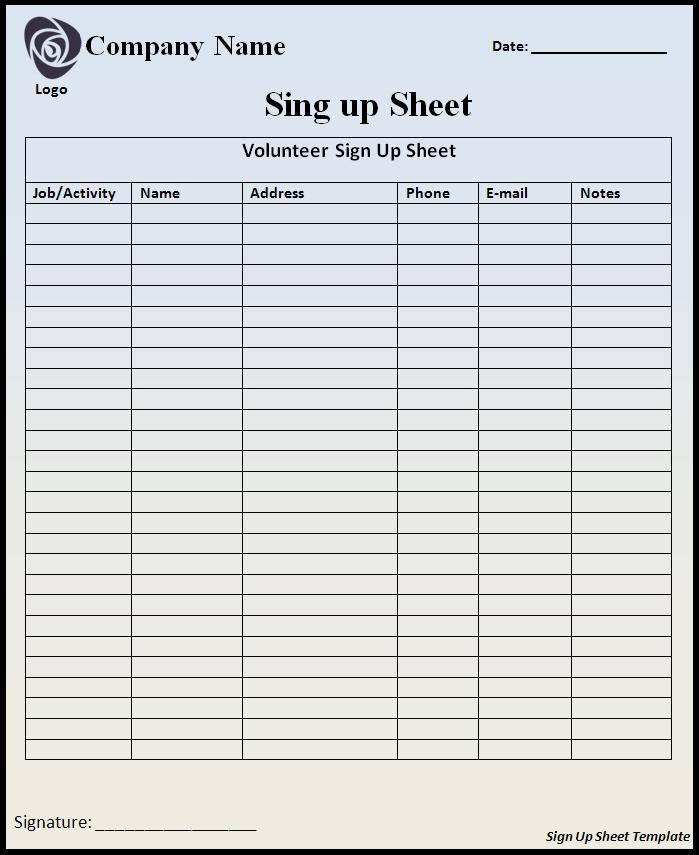 sign up sheets templates 28 images printable sign up sheet – Signing in Sheet Template