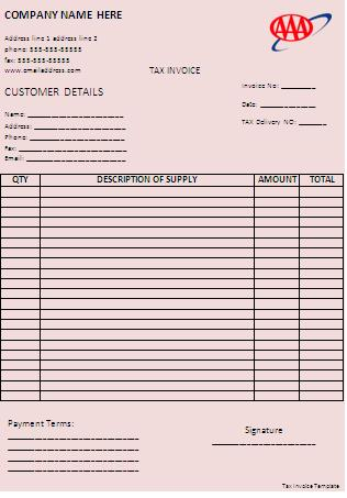 tax invoice template word templates
